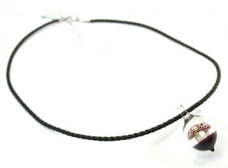 90047 初月MASA キノコ白3個ネックレス(革紐)1