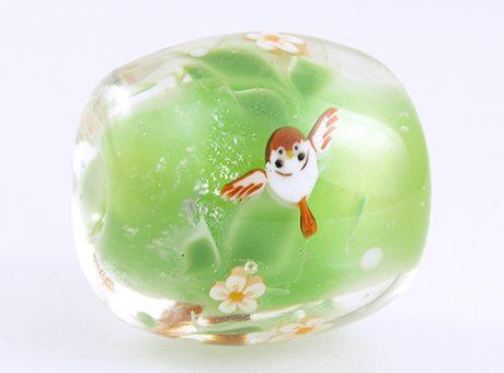 94186駒形遵・ふくら雀(緑)1