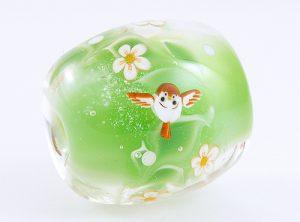 94186駒形遵・ふくら雀(緑)