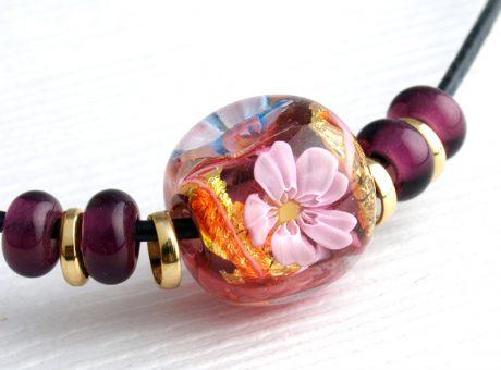 97160 工房彩 小玉ネックレス 桜赤紫 2 鹿革紐2